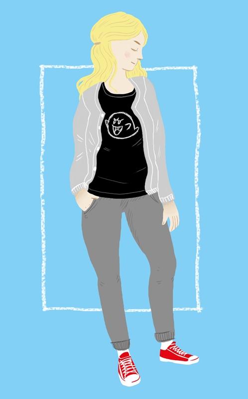 Digitale Illustration: junge Frau in T-shirt und Turnschuhen