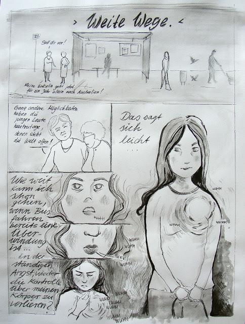 Comic Seite 1: Unterhaltung an Bushaltestelle