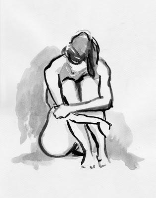 Weiblicher Akt in Tusche