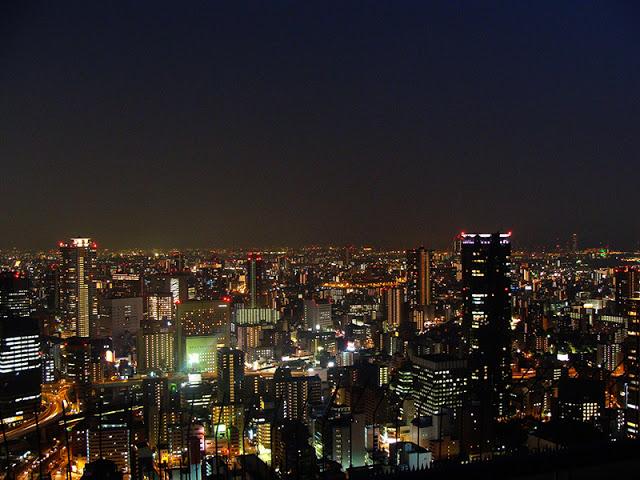 Skyline Osaka bei Nacht