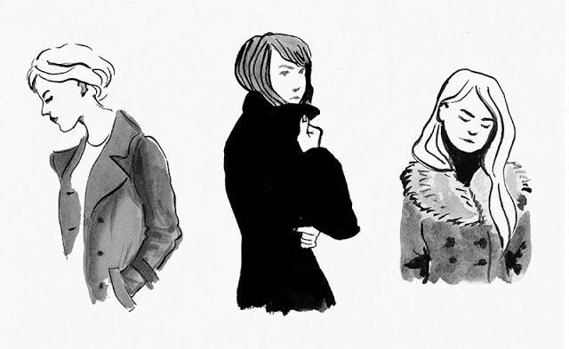 3 Mantel tragende Frauen in Tusche gezeichnet