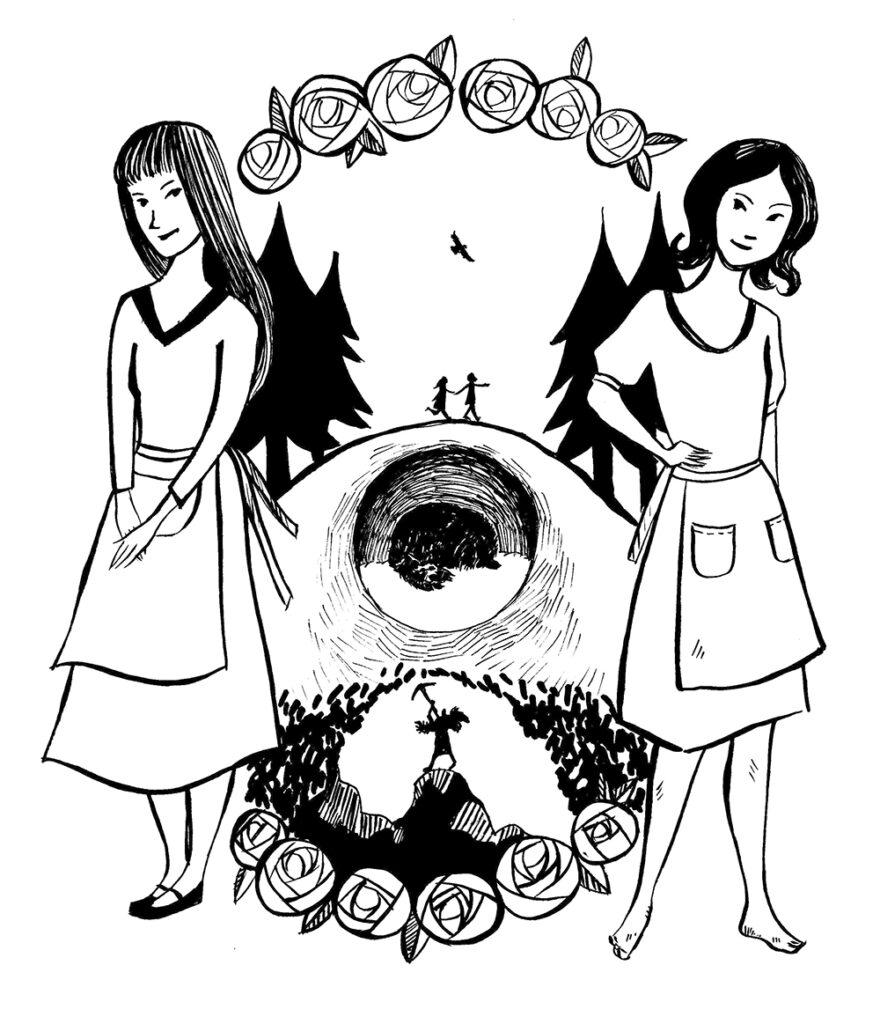 Schwarz-weiße Illustration des Märchens Schneeweißchen und Rosenrot