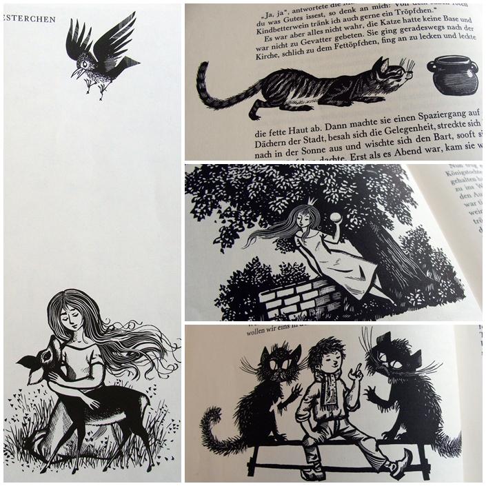 DDR Märchenbuch Gebrüder Grimm, Holzschnitt Illustrationen schwarz-weiß