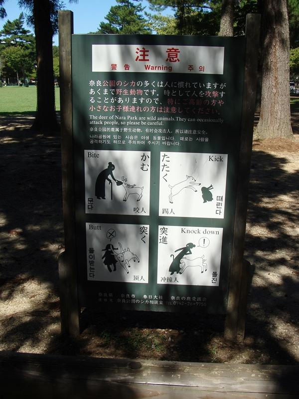 Warnschild vor Hirschen