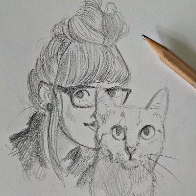 Porträt Katze + Besitzer, Skizze