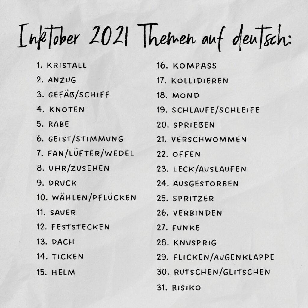 Inktober 2021 Themenliste deutsch