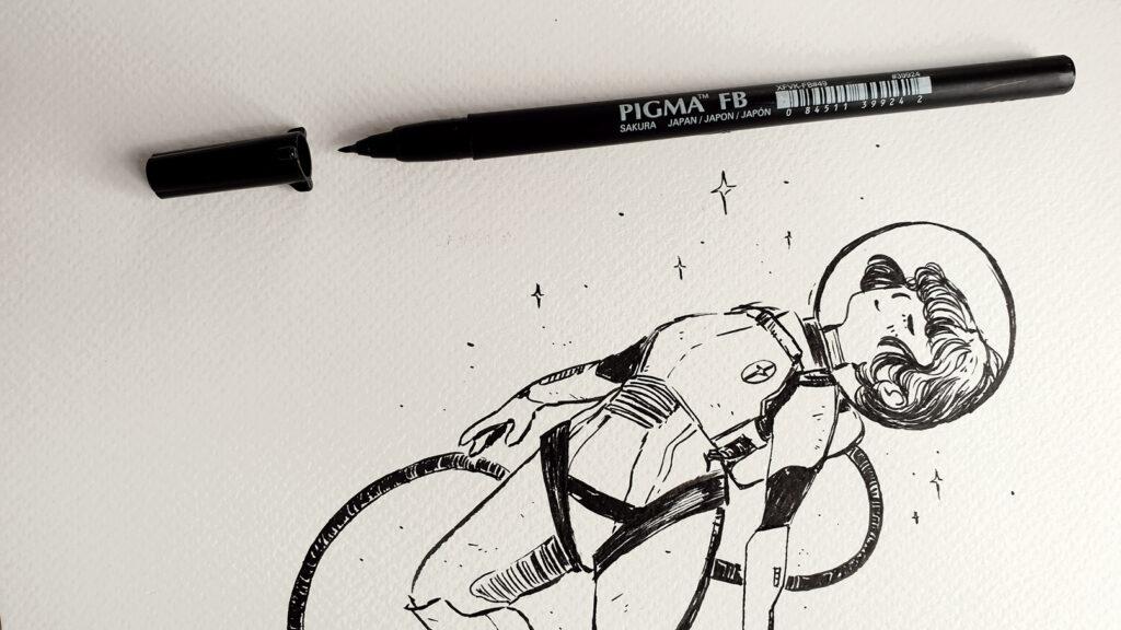 Inktober Zeichnung mit Sakura Pigma Brushpen FB