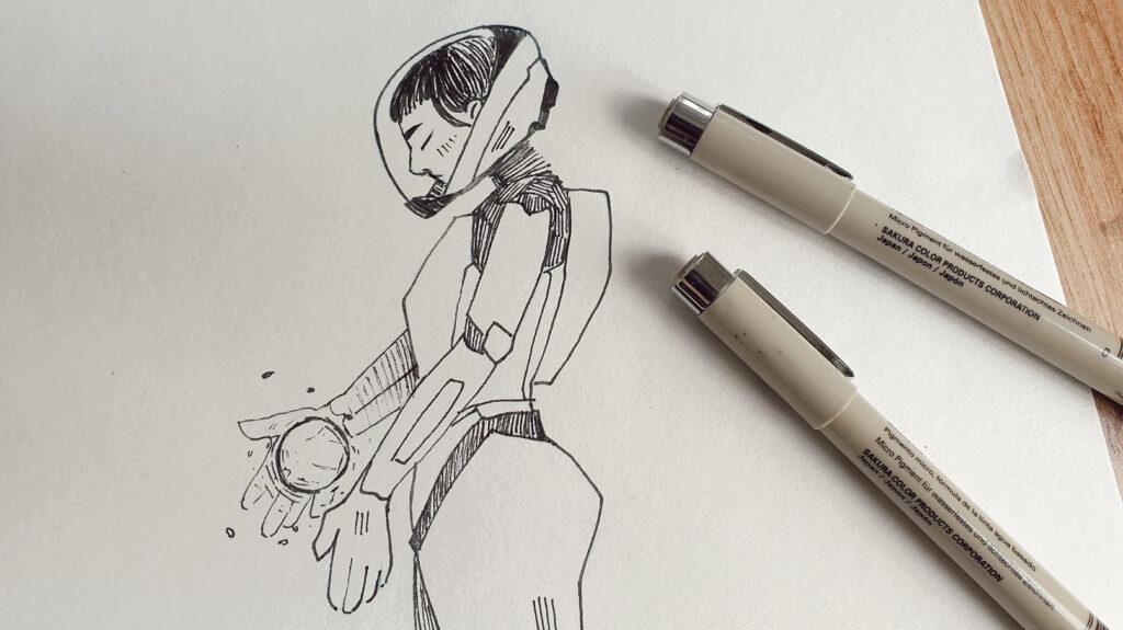 Inktober Zeichnung mit Sakura Micron Fineliner