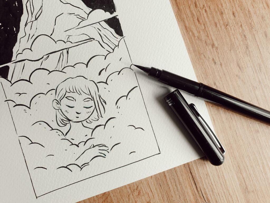 Inktober Zeichnung mit Pentel Pocket Brush Pen