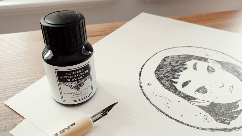 Inktober Zeichnung mit Rohrer und Klingner Tusche