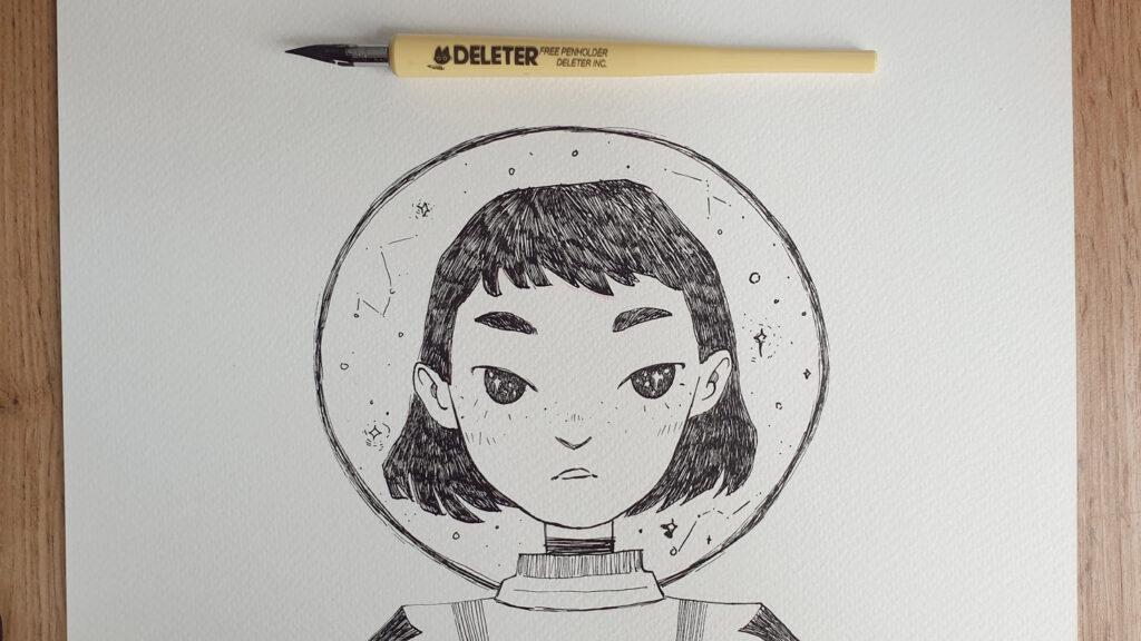 Inktober Zeichnung mit Deleter Zeichenfeder